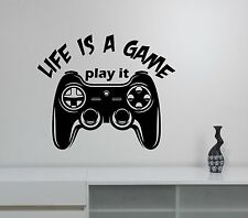 Video Gaming Wall Decal Gamepad Joystick Gamer Quote Vinyl Sticker Art Decor gm1