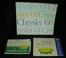 1961 Chrysler Dealership Advertising Booklet 1962 1963 Owner Service Certificate