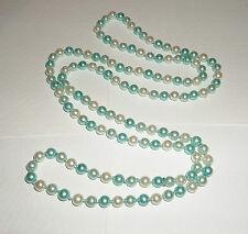 """50"""" VERY LONG TURQUOISE & WHITE GLASS PEARL KNOTTED BEADED FLAPPER NECKLACE BD"""