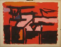 Rare 1955 ANGELO SAVELLI Abstract Expressionist ABEX Lithograph - Listed MODERN