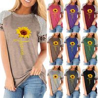 Women Short Sleeve Sunflower Print Blouse Summer Casual Loose Tops T-Shirt Plus