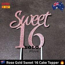 Sweet 16 ROSE GOLD Glitter Cake Topper Happy Birthday 16th Sixteen Cake AUS