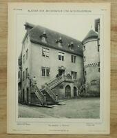 Architektur 1902 Rathaus Wertheim Personen Straße Platz Turm Leiter  26x34cm