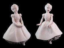 Vintage Holland Mold Pink Bisque Girl Ballerina Victorian Figurines(2)