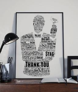 Best Man Gift - Usher Wedding Gift - Personalised Wedding Gift - Word Art Print