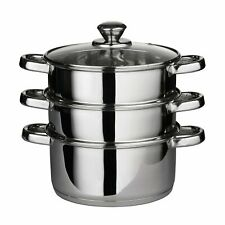 3 Piece Stainless Steeel Steamer Coockware Pot Pan with Glass Lid, 22cm