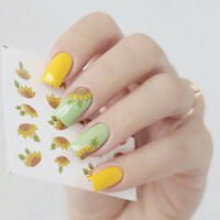 2 Pcs Sunflower Theme Nail Art Water Decals Stickers Transfer Stickers Manicure