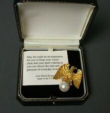Vintage Ann Hand Eagle Pin - Ruby Eye - Gold Tone w/ Pearl - 925 SS - Box - j vh