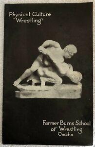 Original 1913 PHYSICAL CULTURE WRESTLING FARMER BURNS SCHOOL Book Rare