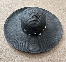 Peacocks Black Summer Hat