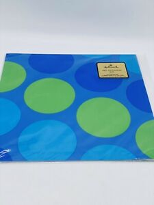 Vintage Hallmark Gift Wrapping Paper Retro Circles Blue Green  NOS