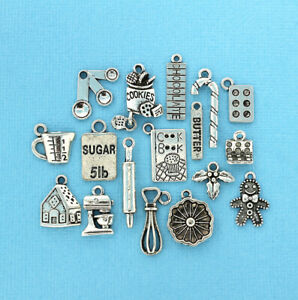 Christmas Baking Deluxe Charm Collection Antique Silver Tone 17 Charms - COL044