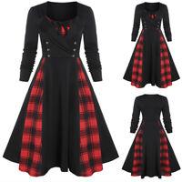 Plus Size Women Vintage Button Midi Dresses Ladies Plaid Gothic Pleated Dresses