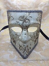 Men Full Face Gladiator Bauta  Silver Venetian Mardi Gras Masquerade Mask