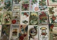 Lot of 25 Vintage Early 1900's Christmas Postcards Antique-in Sleeves-s713