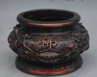 "5"" Chinese Buddhist Temple Bronze Lotus Flower Incense Burner Censer Pot Crock"