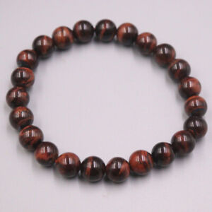"""New Luck Red Tiger Eyes Stone Beads Link Bracelet For Women 8mmW 7.5""""L"""