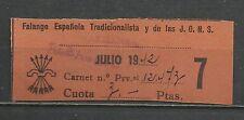 9335-SELLO CUOTA ESPAÑA 1942  GUERRA CIVIL  FALANGE 2 pesetas ALMANSA,ALBACETE.