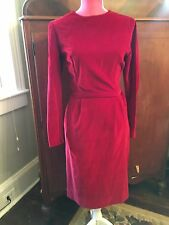 STUNNING VINTAGE 1950s PIN UP RED VELVET CLASSIC WIGGLE COCKTAIL PARTY DRESS XS