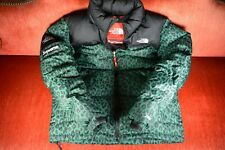 GREEN Supreme X THE NORTH FACE Leopard Down Hood Jacket NUPTSE Size S