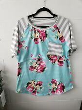 Maternity Nursing Breastfeeding T-shirt Top Floral Stripes XXL