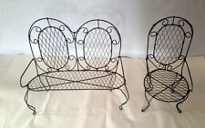 Antique 2 Large doll Hand twisted wire patio Furniture Chairs