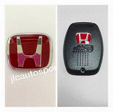 JDM Red H Steering Wheel Type B+Mugen Red H Back Key Cover Combo for Civic 06-14