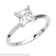 1 Ct Princess Cut Solitaire Engagement Wedding Promise Ring Solid 18K White Gold