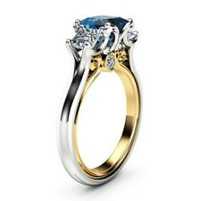 Elegant Rings for Women Blue Sapphire 925 Silver Jewelry Wedding Ring Size 6-10