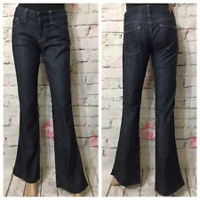 """7 Seven For All Mankind """"A"""" Pocket Boot Cut Low Rise Jeans Sz 26 X 33 Dark Wash"""