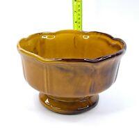 Large Vintage Retro Mustard/Brown Drip Glaze Pottery Pedestal Planter Vase