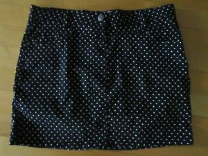 Damen mini Rock schwarz weiße Punkte Gr 42