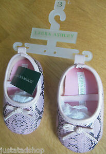 Laura Ashley baby girl pink snakeskin shoes size 2, 3 3-6-9 m New BNWT designer