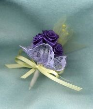 Bride Doll Bouquet - Small Purple Roses Yellow Tulle - For Small Doll - Linhill