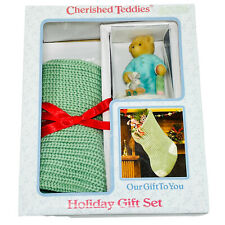 Cherished Teddies Figurine Bear Sonny Santas Visit Stocking Holiday Gift Set