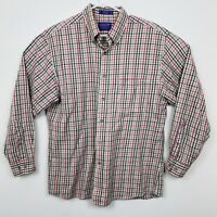 Pendleton Long Sleeve Plaid Casual Shirt Broadway Cloth Mens Sz L Tan Red Blue