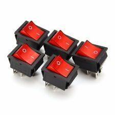 5pz Interruttore a 16A/250V Bipolare Luminoso On/Off  4 Pin Rosso Illuminato