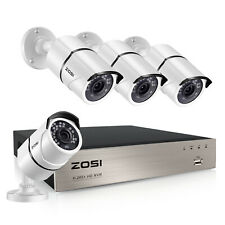 ZOSI 8CH H.265+ 5MP NVR 1080p IP POE Security Camera System Outdoor 2MP CCTV Kit