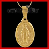 18K GOLD GF THE MADONNA SOLID NECKLACE BLESSED VIRGIN MARY JESUS MOTHER PENDANT
