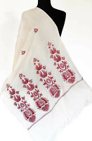 Crewel Embroidered, Wool White Shawl. Red & Silver Embroidery. Ari Kashmir Stole
