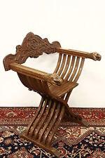 Sedia in legno modello Savonarola in legno scolpito chair antique italian old