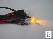 20 x 3mm Yellow Flicker 9V 12V Pre-Wired Water Clear LED Leds Candle Light 20CM