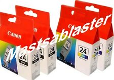 4 GENUINE CANON BCI-24 Ink Cartridges