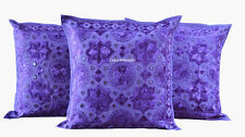 "SET OF 3 PURPLE HANDMADE 16X16"" MIRROR WORK CUSHION COVER ETHNIC DECOR ART KE"