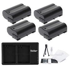 4x EN-EL15 Replacement Battery & USB Dual Charger f/ Nikon D7000 D800 D800E 1 V1