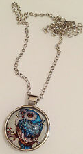 pendentif chaine couleur argent cabochon dessin chouette en couleur 245