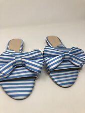 Charles David Bow Flat Slide Sandal Satin Blue White Stripes Size 5.5 1298