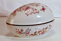 Avon 1974 Porcelain Trinket Box Egg Shape Flowers Butterfly 22k Gold Trim