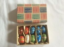Vintage West Germany Gdr Box of Painted Wooden Eggs Easter