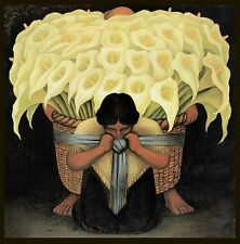 "Diego Rivera, Flower Vendor, lilies""Vendedora de Flores, 20x20"" CANVAS ART"